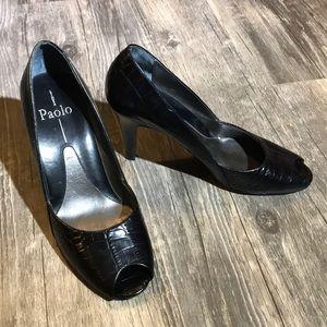 Linea Paolo Black Alligator Peep Toe Heels